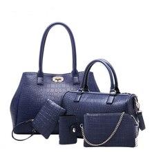 Litthing Women Handbag 5pcs/set Hot Sell Ladies Composite Bag Fashion Crocodile Grain Shoulder Bag New Messenger Bag Tote цены онлайн