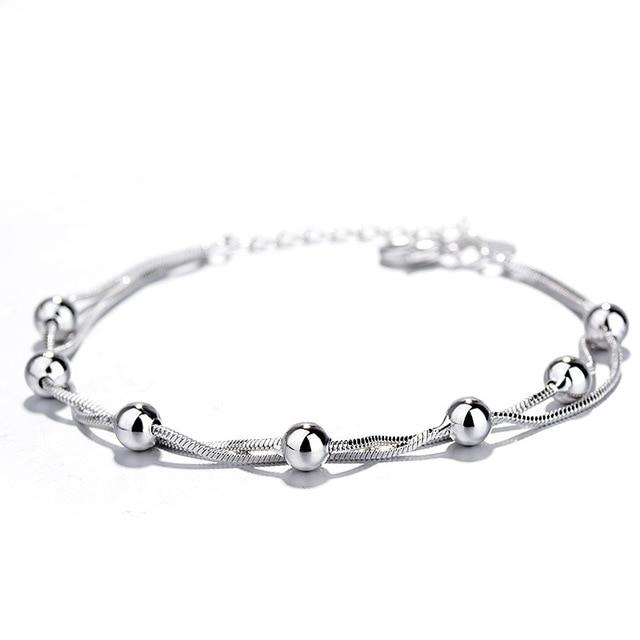 Оптовая продажа серебряный браслет с круглыми бусинами счастливый