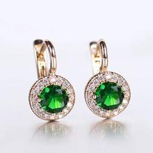 Green Stone Cubic Zircon Drop Earrings 585 Rose Gold Color for Women Girls Vintage Style Luxury Crystal Wedding Earrings GE278A