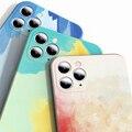 Жидкий силиконовый роскошный квадратный чехол с акварельным для Apple iPhone 12 11 Pro Max X XR XS Max Painti Красочные градиент Мягкая обложка