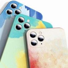 Silicone líquido de luxo quadrado aquarela caso para apple iphone 12 11 pro max x xr xs max painti colorido gradiente capa macia
