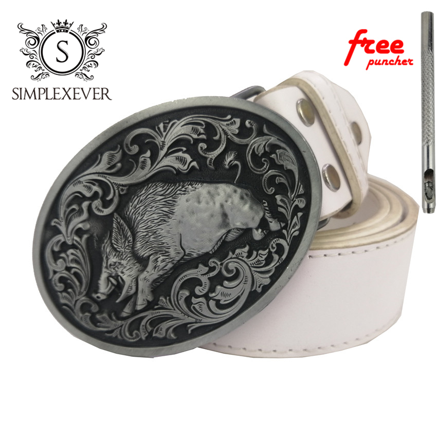 New 3D Silver Wild Pig Cowboys Belt Buckle Metal Belt Buckle Woman Man Jeans Jewelry Accessories