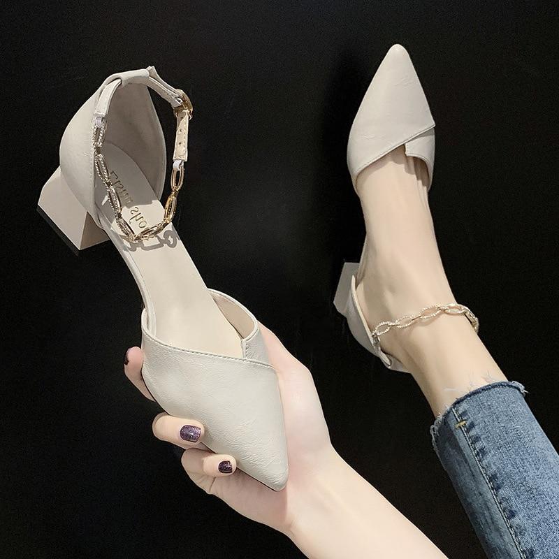 All-Match Black Platform Sandals Med 2020 Summer High Heels Suit Female Beige Women's Shoes Espadrilles Medium Ladies For(China)