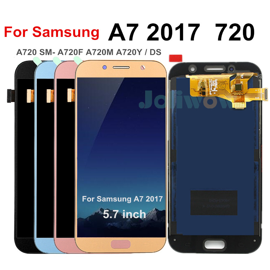 A720 LCD For <font><b>Samsung</b></font> A7 2017 <font><b>A720F</b></font> A720M SM-<font><b>A720F</b></font> A720Y / DS LCD Display Touch <font><b>Screen</b></font> Digitizer Assembly Adjustable Brightness image