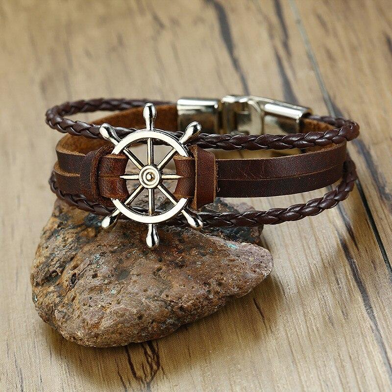 Bracelet en cuir gouvernail  4
