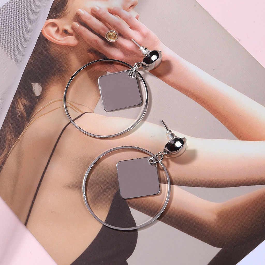 Moderne grand Cube cercle géométrique boucles d'oreilles européen et américain cristal goutte boucles d'oreilles sauvage dames bijoux pendentif de bal