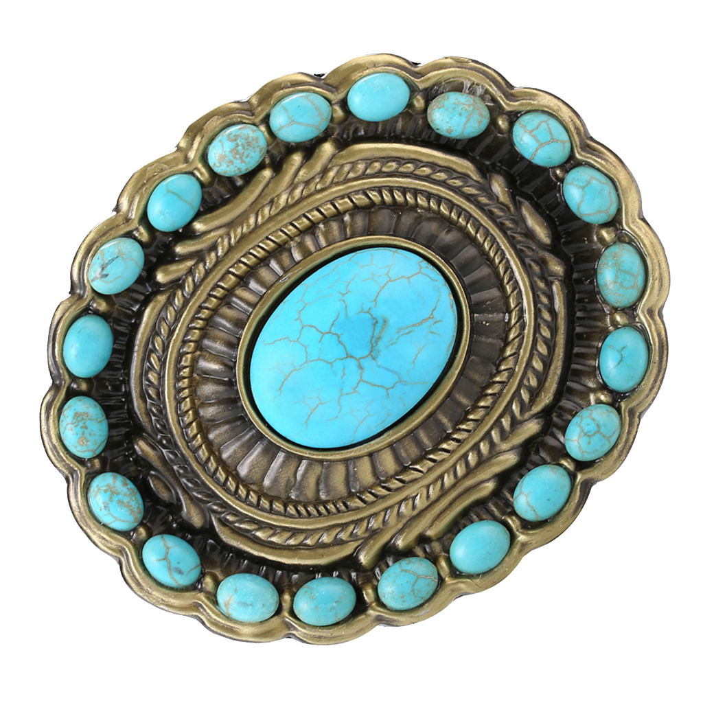 Boho Western Buckle Gothic Buckle Gothic Blue Turquoise Engraved Interchangeable Belt Buckle Clasp For Interchangeable Belt