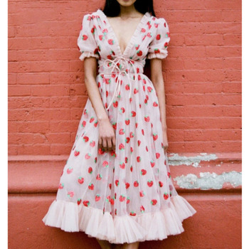 Print Strawberry Dress Make Up For Shipping Women Protective Fashion Accessories