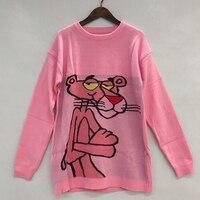 Новый корейский розовый пантера женский свитер мультфильм Леопард свободный свитер пуловер осень зима мода Гарфилд Одежда для девочек топ...