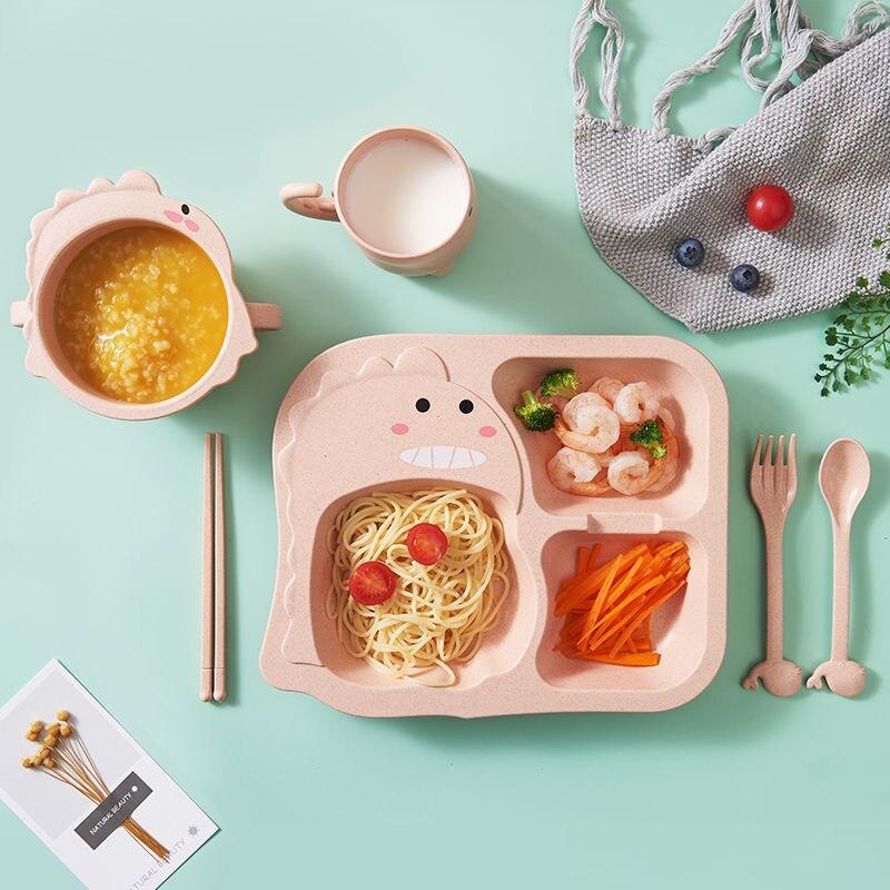 6 шт./компл. детская посуда с мультяшным динозавром, детский набор посуды, домашняя антигорячая тренировочная тарелка из пшеничной соломы, детские блюда для кормления 4