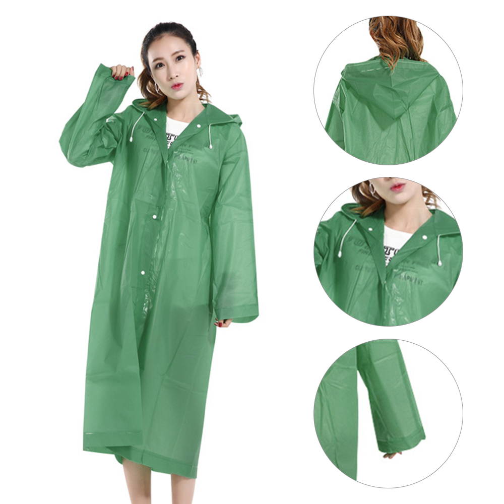 Rain Resistant Poncho with Hoods and Sleeves for Travel /& Outdoors Reusable and Transparent Waterproof Portable Raincoat EVA Reusable