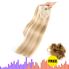 "MRS HAIR Ponytail Human Hair Clip In Black / Blonde Machine Remy Hairpieces Straight Clip In Hair Extensions 14"" 18"" 22""(China)"