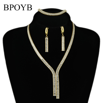BPOYB Top sprzedaży luksusowej marki zestaw biżuterii ślubnej czystego złota kolor Tassel wisiorek z cyrkonią naszyjnik kolczyki w dubaju biżuteria tanie i dobre opinie Miedzi CN (pochodzenie) Kobiety Cyrkonia TRENDY Earrings Necklace Bracelet Naszyjnik kolczyki bransoletka Moda CS0022 Zestawy biżuterii