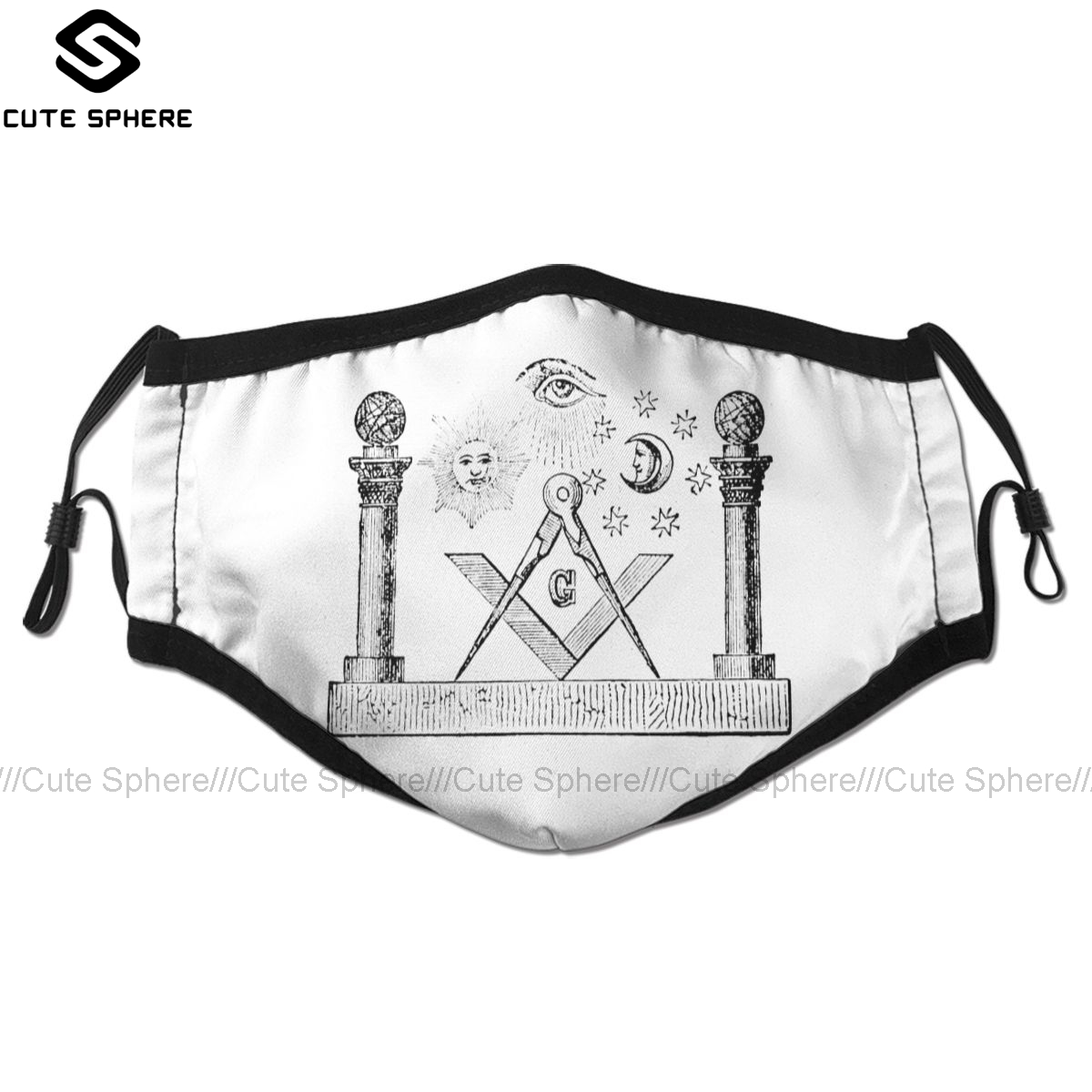 Masonic Symbols Mouth Face Mask SYMBOLS OF MASONRY Facial Mask Fashion Funny With 2 Filters For Adult