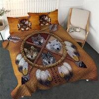 BlessLivingDreamcatcherQuilt Set 3D Print Comforter Set Wild Animal Bed Spread TribalBedding Queen Wolfedredones Drop Ship