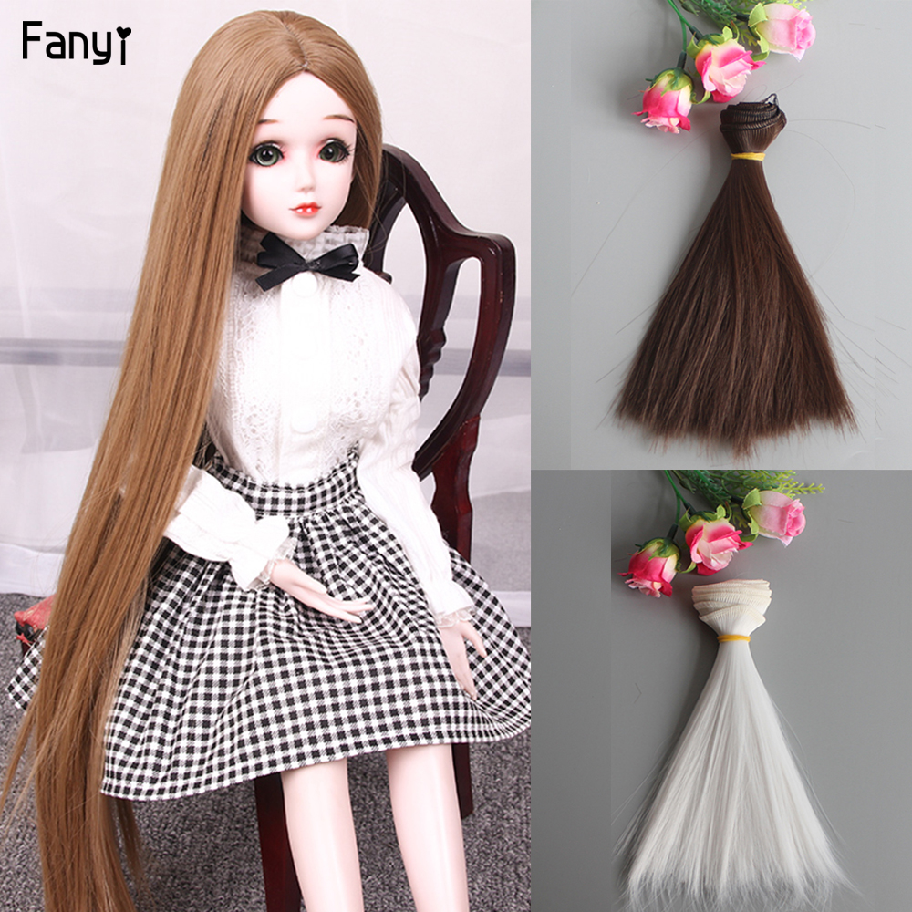 Straight Doll Wig Hair For SD BJD And Baby Toy Diy Hair Tresses 15cm Wig Suit American 18 Doll 16 14 Doll Accessories