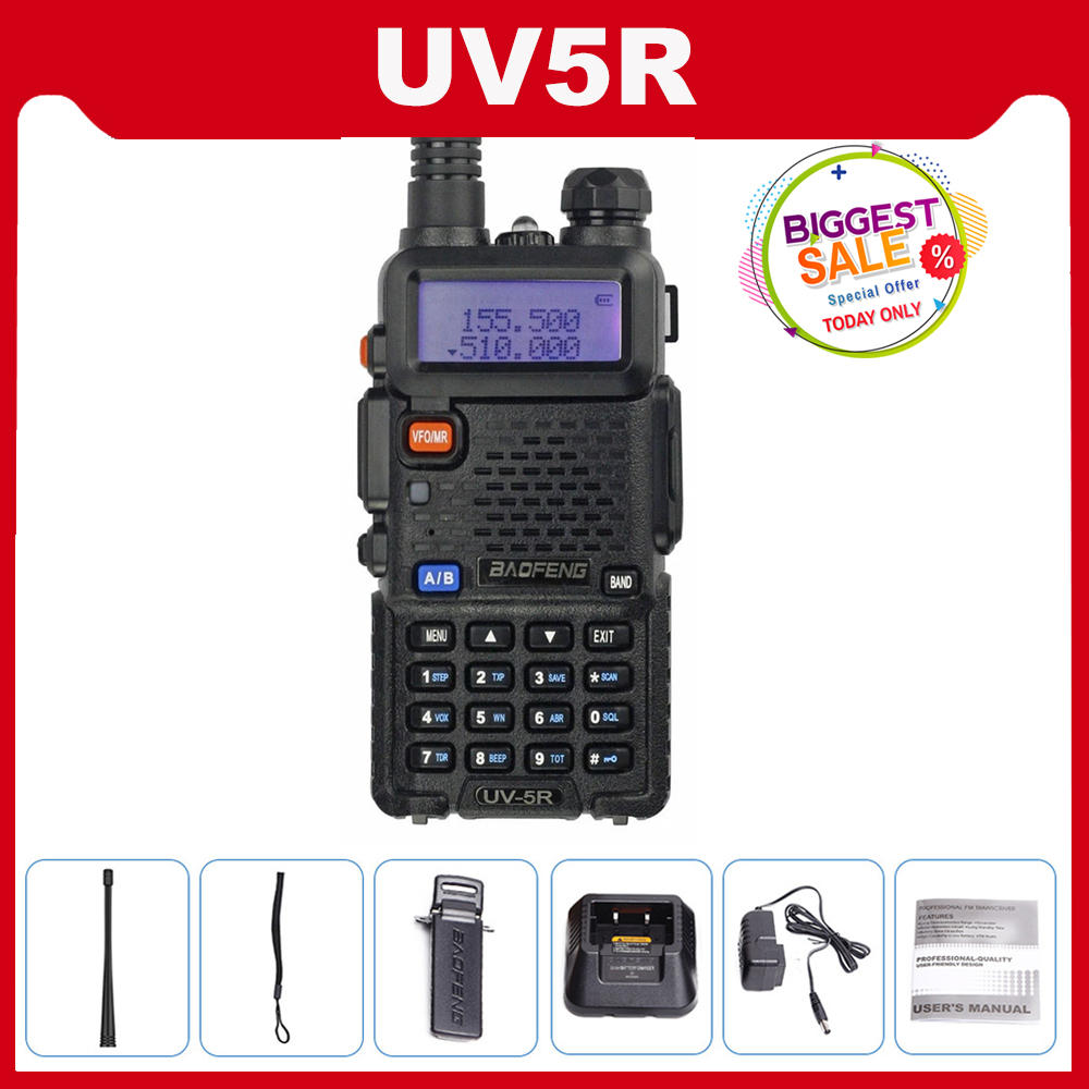 Baofeng UV 5R Walkie Talkie 10km UV5R CB Radio 5W 128CH VHF UHF Dual Band Baofeng UV-5R Two Way Ham Radio Comunicador Scanner