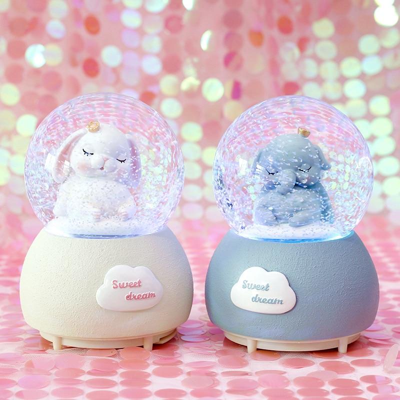 Ins Snow Globe Glass Music Crystal Ball Creative Resin Cartoon Girl Beauty Gift Nordic Music Box Craft Home Desktop Decoration