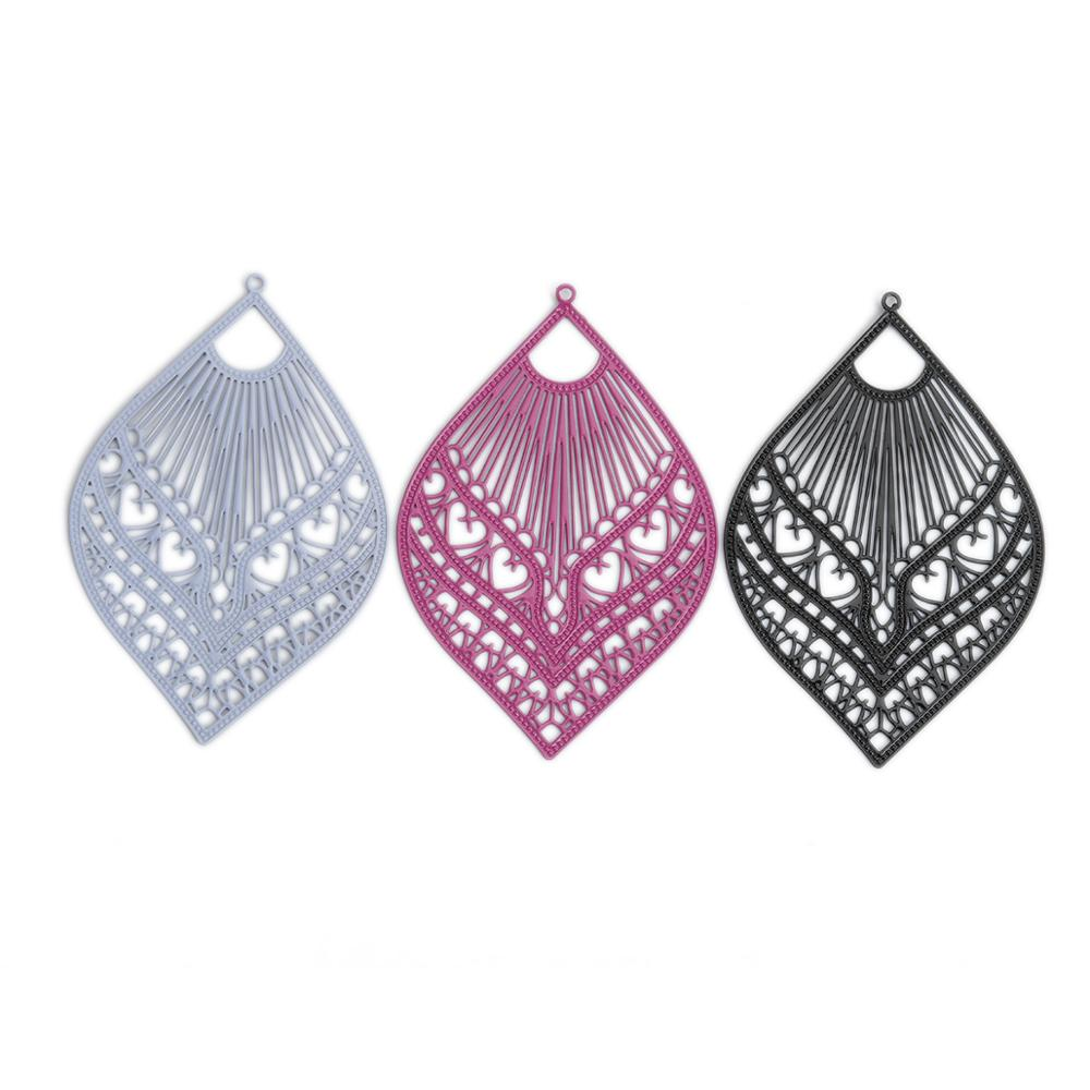 DoreenBeads Fashion Copper Filigree Stamping Pendants Black Gray Feather Style Jewelry DIY Findings Charms 59mm X 39mm, 10 PCs