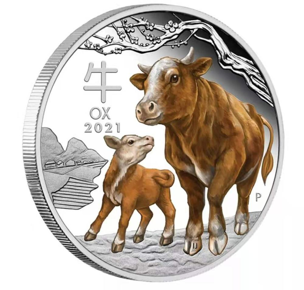 Austrália 2021 ano boi animal prata colorido moedas réplica elizabeth moedas lembrança presentes transporte da gota