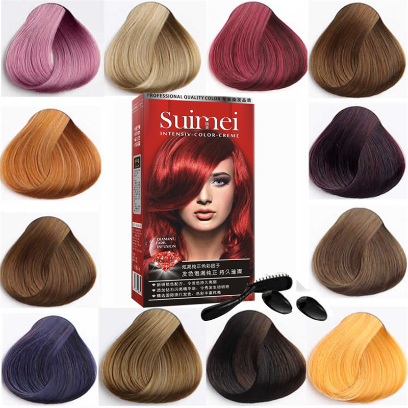 SUIMEI Professional Use Colour Cream Golden Brown Red Purple Color Dye Cream Natural Permanent Hair Dye with Peroxide Gream image
