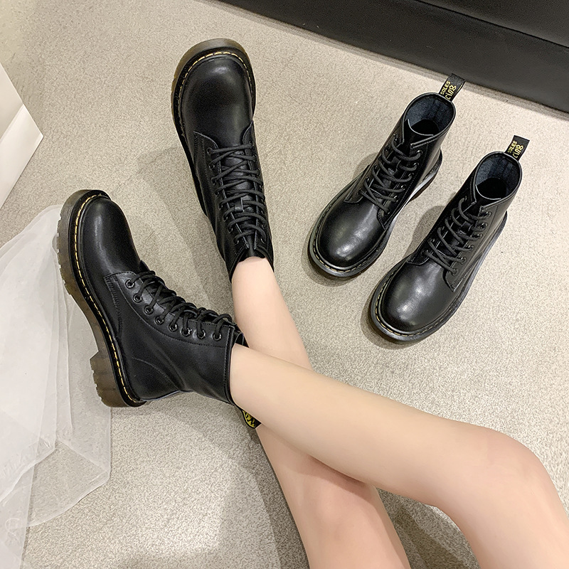 Martin Boots Locomotive Mid-tube Short Boots Genuine Leather Short Boots Rubber British Style Retro Autumn and Winter Female