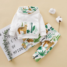 Get more info on the Children Sets Sweatshirt Suit 2019 Baby Child Long Sleeve Leopard Print Printing Even Hat Jacket + Cactus Printed Trousers