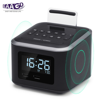 Alarm Clock Radio,Wireless Bluetooth Speaker,Digital Alarm bedroom Clock with   Cell Phone Stand/Dimmer/Battery Backup Function
