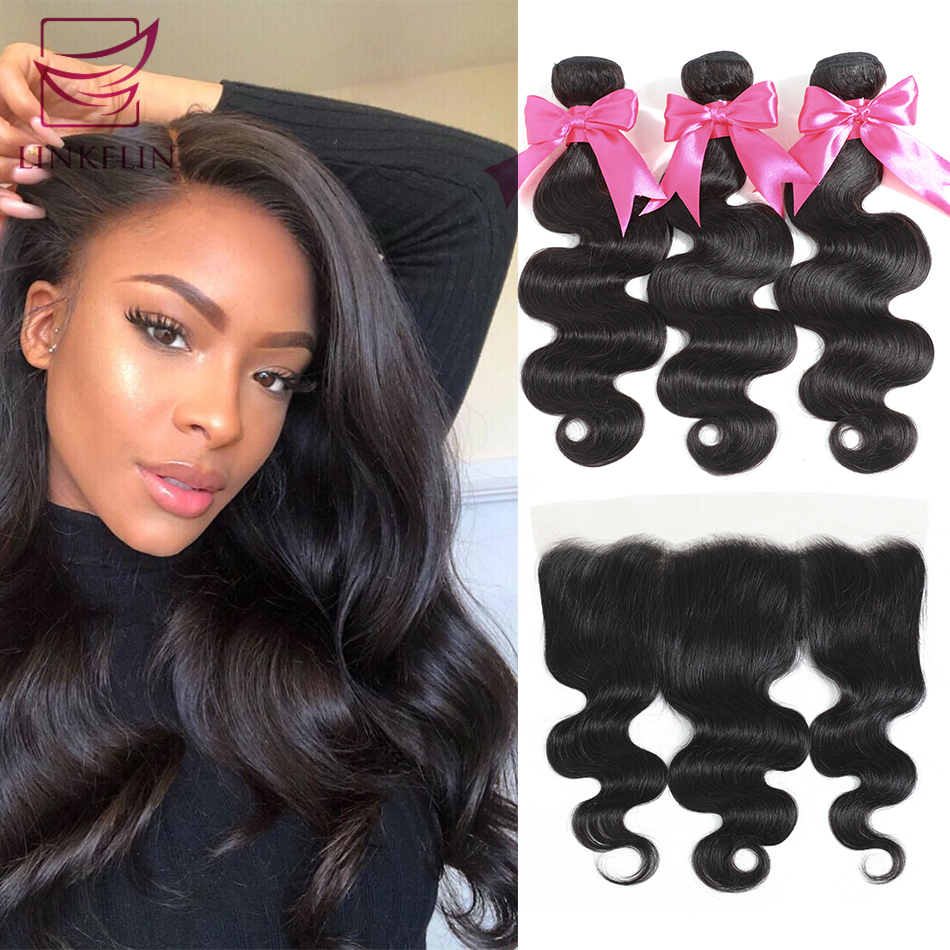 LINKELIN HAIR Human Hair Bundles With Frontal 13*4 Pre Plucked Lace Frontal Remy Peruvian Body Wave Bundles With Frontal