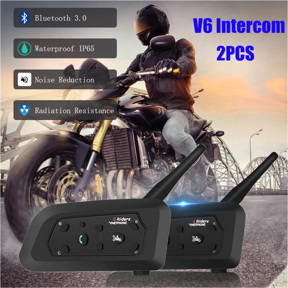 Pro Motorcycle Helmet Intercom 2PCS Bluetooth Helmet Headsets For 6 Riders 1200m Wireless Intercomunicador Waterproof Interphone
