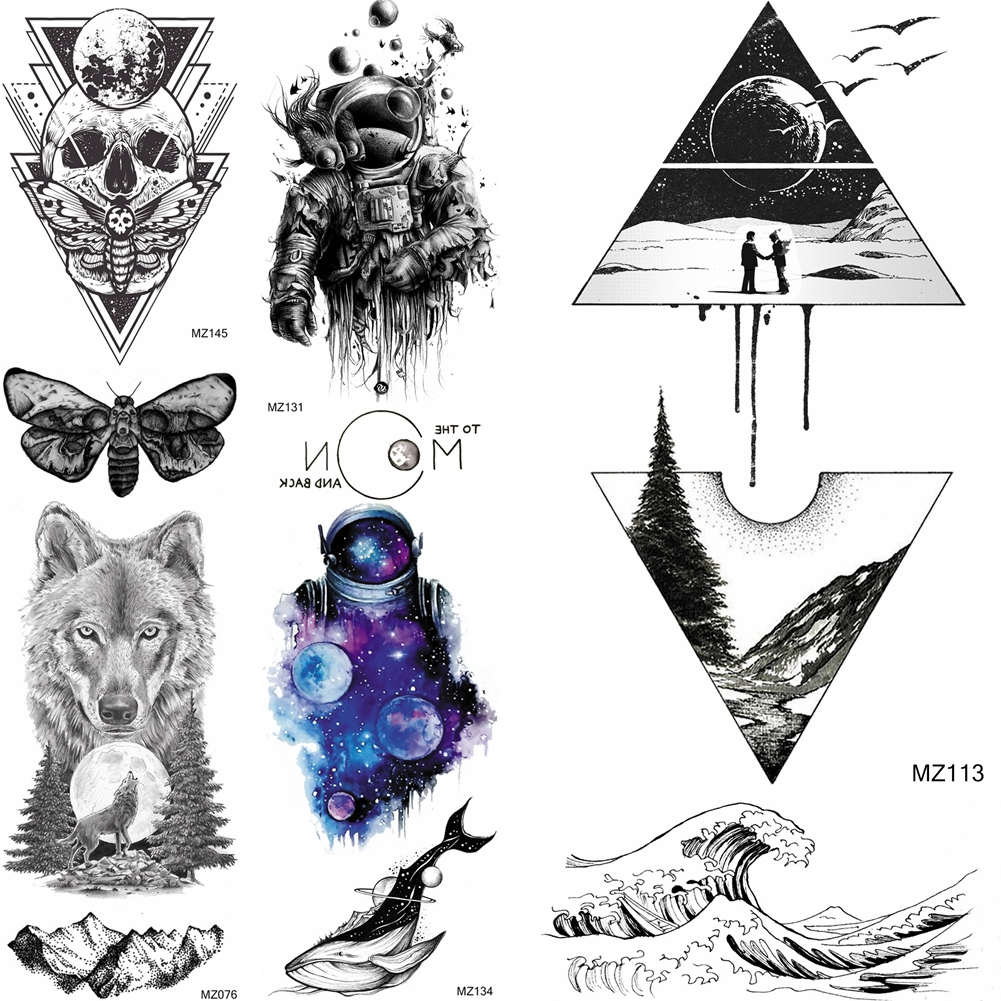 Triangle Geometric Forest Mountain Temporary Tattoos Stickers For Women Sexy Body Art Big Arm Sea Wave Tatoo Sheet Paper Tattoo