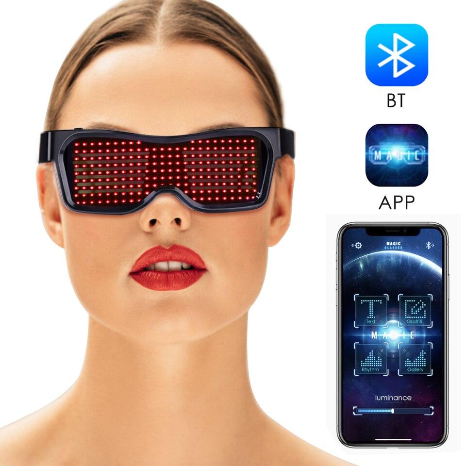 White DJ Bluetooth LED  Glasses DIY Light Up Glowing APP Control Club Party