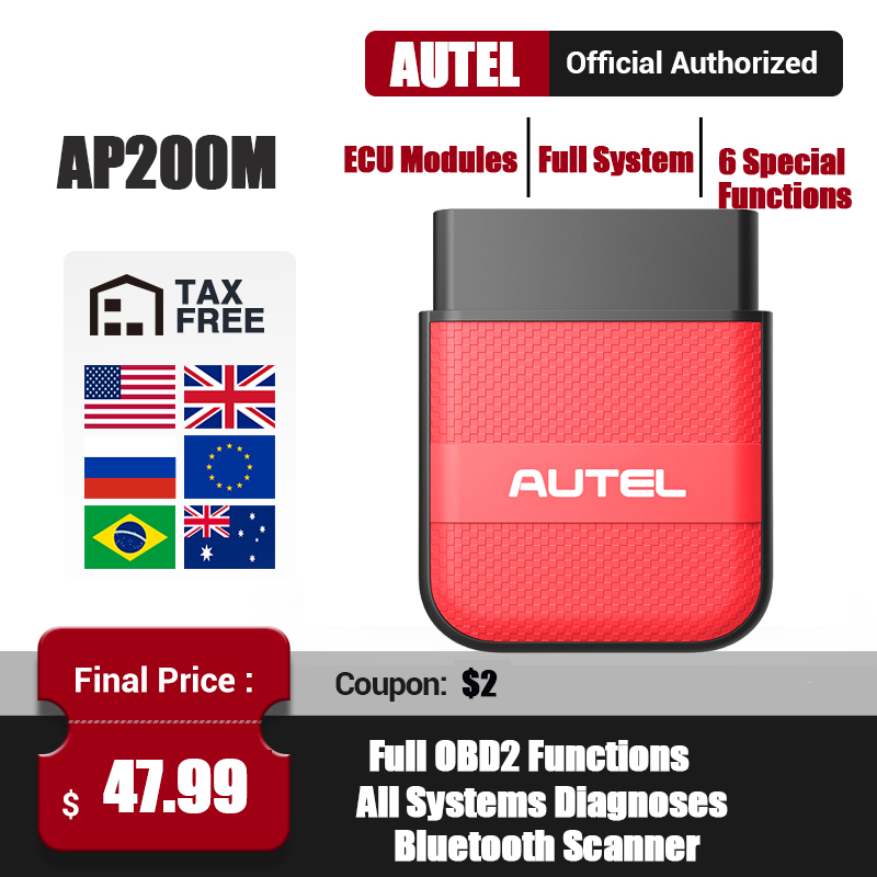 Newest Version Autel AP200M Bluetooth OBD2 Scanner Full Systems OBDII Car Diagnostic Tool PK AP200 MK808 Thinkdiag Easydiag 3 0