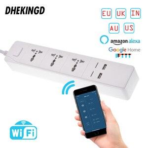 Умная Wi-Fi лента с универсальной зарядной станцией 3 гнезда 2/4USB, работает с Alexa Google Home Assistant, вилки для Великобритании/Австралии/ЕС/США/SA