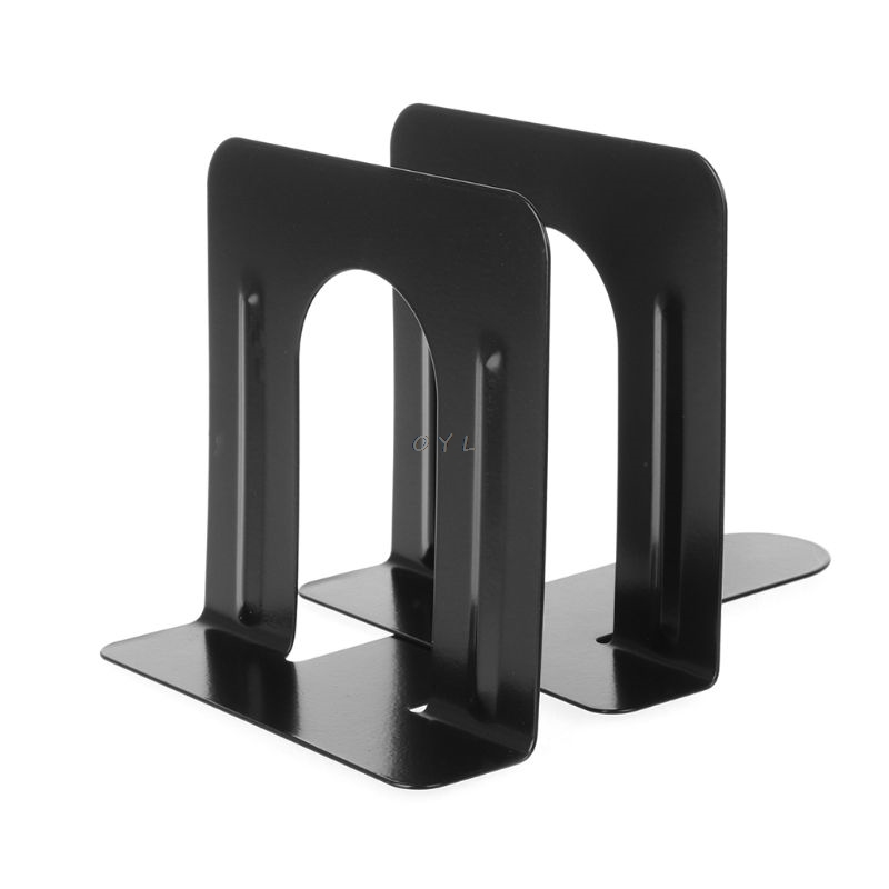 Simple Style Metal Bookends Iron Support Holder Nonskid Desk Stands For Books OO