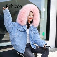 2019 Winter fur denim  womens fashion imitation rabbit blue jacket with warm lining female collar coat