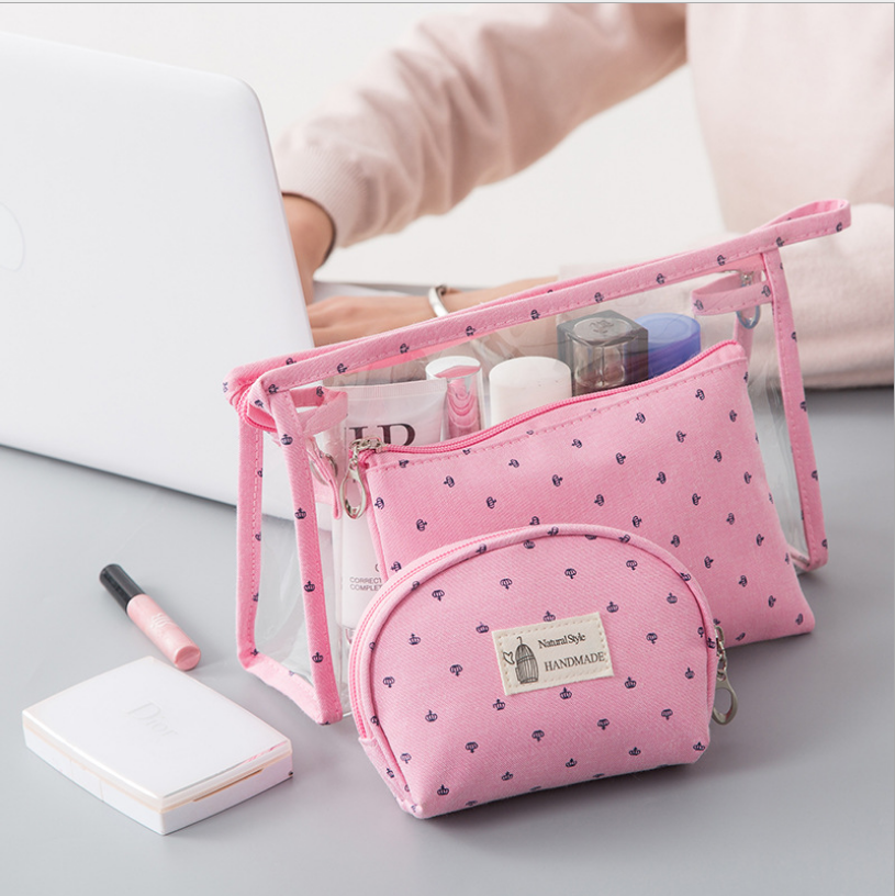 <font><b>3</b></font>/piece <font><b>set</b></font> casual women <font><b>travel</b></font> <font><b>cosmetic</b></font> <font><b>bag</b></font> PVC leather zipper makeup box storage <font><b>bag</b></font> storage <font><b>bag</b></font> transparent <font><b>cosmetic</b></font> <font><b>bag</b></font> image