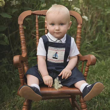 Newborn Boys Clothes Set Spanish Infant Toddler White Tops+Jumpsuit 2Pcs Outfit 2021 Summer Child Boy Embroidery Clothing Suits