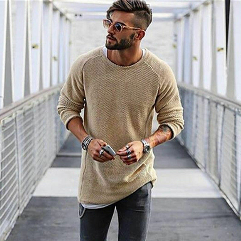 Fashion Men Pullover R-Neck Sweater Long Sleeve Shirt Sweaters Casual Knitwear Jumper Sweater Pullover Warm Hip Hop Extended Top