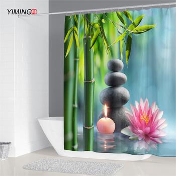 Zen zasłona prysznicowa dekoracja łazienki 3D bambus płynącą wodą zielony bambus budda zasłona prysznicowa wodoodporna zasłona pleśni tanie i dobre opinie YIMING CN (pochodzenie) Poliester Europa Liście Ekologiczne Shower curtain Polyester plant 71inch X 79 inch Width High