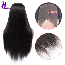 HairUGo Human Hair Wigs Malaysia Straight Remy Hair Wig Lace Wigs With 4*4 Lace closure Pre Plucked Hairline Natural Baby Hair cheap Darker Color Only Swiss Lace Average Size Medium Brown Malaysia Hair