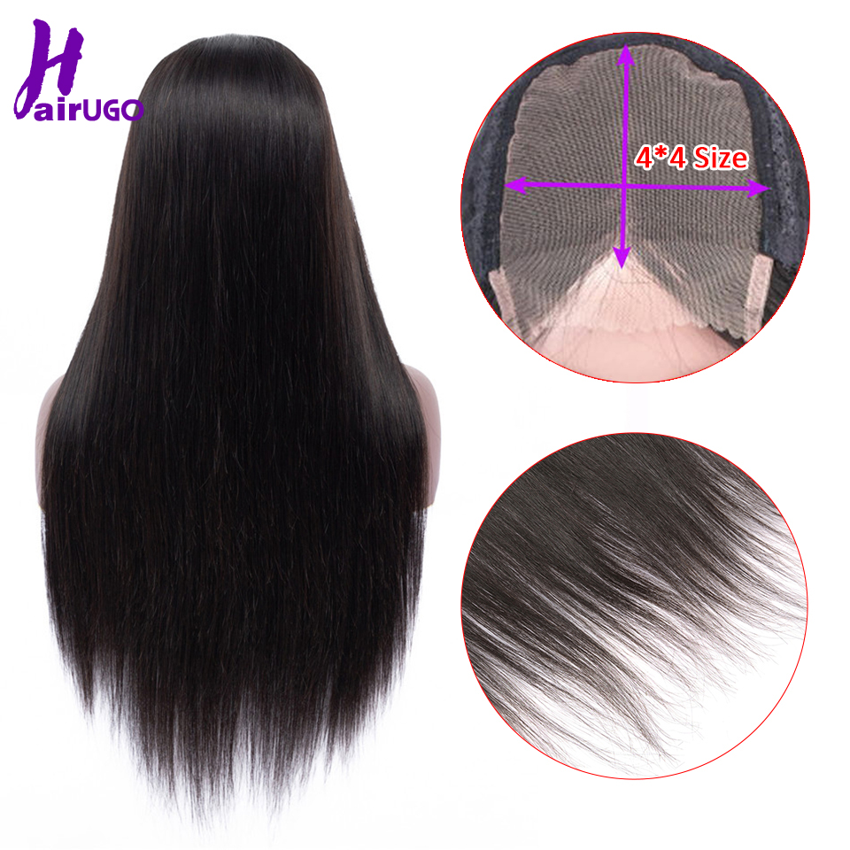 HairUGo Human Hair Wigs Malaysia Straight Remy Hair Wig Lace Wigs With 4*4 Lace Closure Pre Plucked Hairline Natural Baby Hair