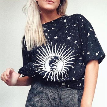 Hippie Stars Printed Tees Female Half Sleeve O Neck Vintage Long Shirts 2020 Summer Loose Casual Steetwear Tops Womens T Shirts
