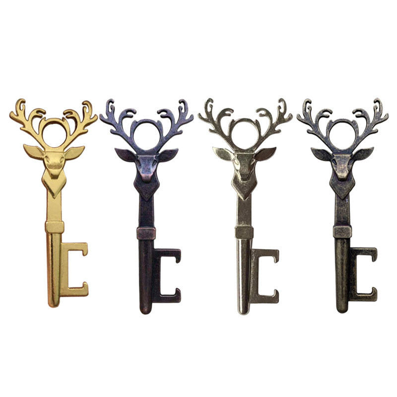 Christmas Deer Head Beer Bottle Opener Keychain Zinc Alloy Vintage Key Ring Pendant Bottle Opener For Festival Party Bar Gift