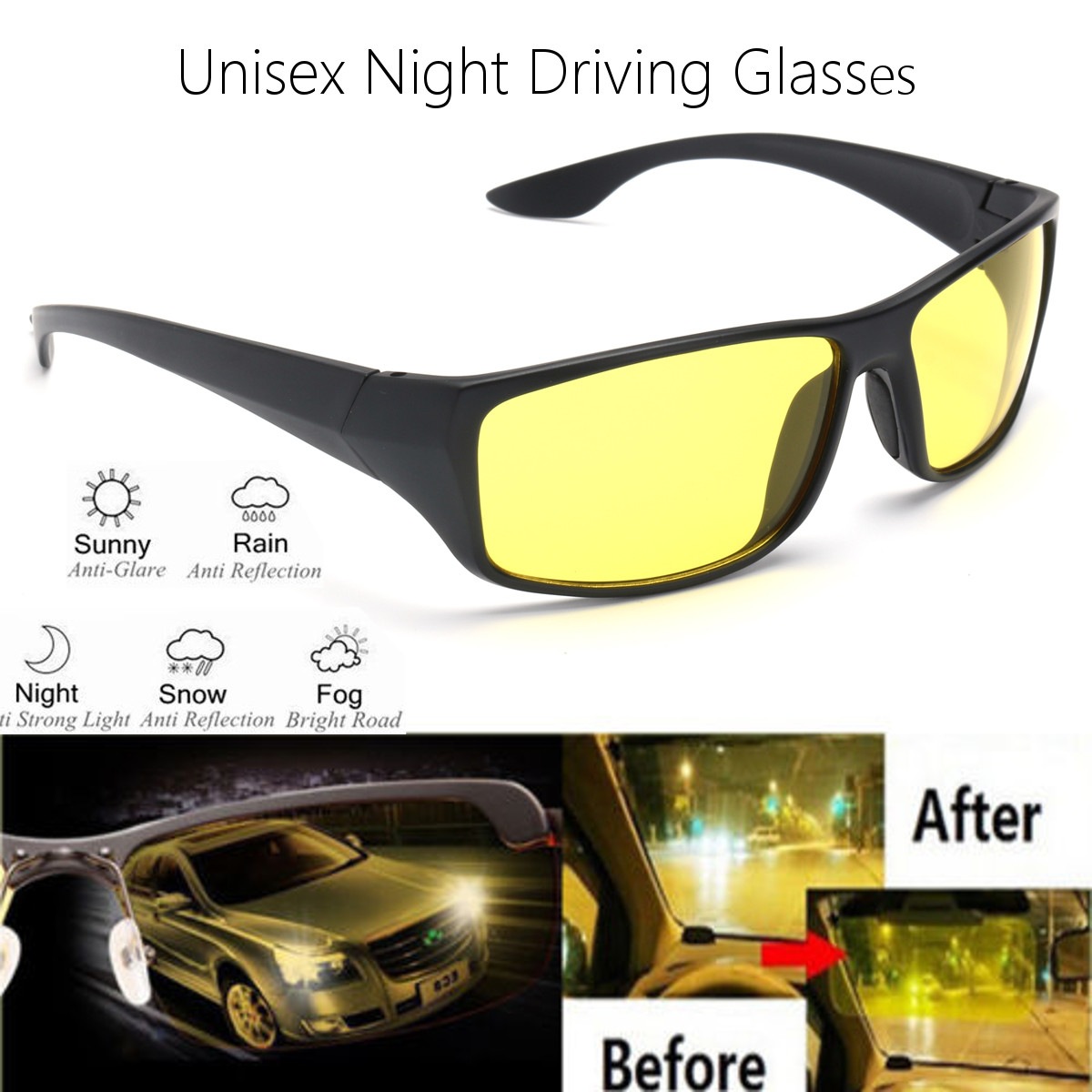 New Sunglasses Night Vision Sunglasses Men Fashion Polarized Night Driving Enhanced Light Glasses