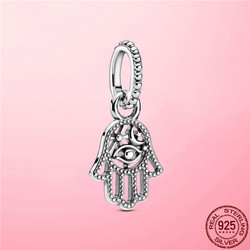 Hot Sale Lucky Charm 925 Sterling Silver Protective Hamsa Hand Dangle Charm Beads fit Pandora Bracelet 925 Silver jewelry
