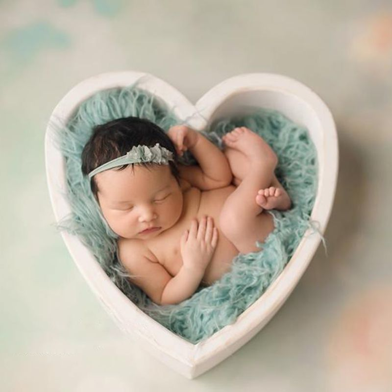 Newborn Baby Photography Love Shape Wood Basket Photo Shoot Studio Posing Wooden Bowl Props