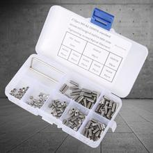 212Pcs/set Grub Screws Stainless Steel Inner Hex Concave End Tighten Hardware Fasteners tapa tornillos