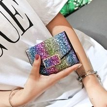 Designer womens glitter sequins bags ladies leather wallets