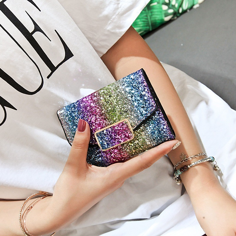 Designer Womens Glitter Sequins Bags Ladies Leather Wallets Card Holder Clutch Mini Purses And Handbags Short Wallet For Female